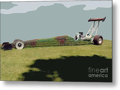 Metal Print featuring the photograph Dragster Flower Bed by Bill Thomson
