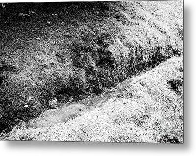 Drainage Ditch Dug In Boggy Peaty Farmland Ballymena, County Antrim, Northern Ireland, Uk Metal Print