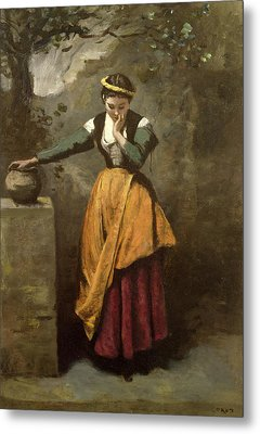 Dreamer At The Fountain Metal Print by Jean Baptiste Camille Corot