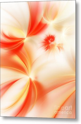 Metal Print featuring the digital art Dreamy Orange And Creamy Abstract by Andee Design