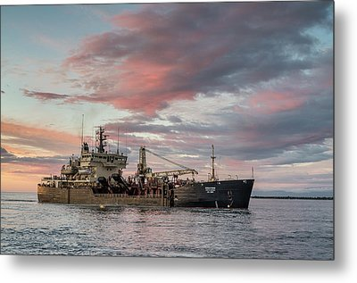 Dredging Ship Metal Print by Greg Nyquist