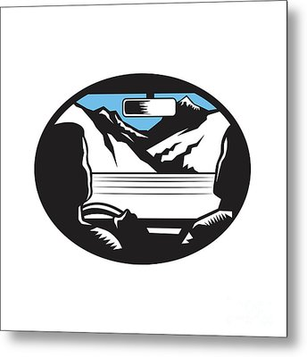 Driver Looking Up Mountain Car Windshield Oval Woodcut Metal Print by Aloysius Patrimonio