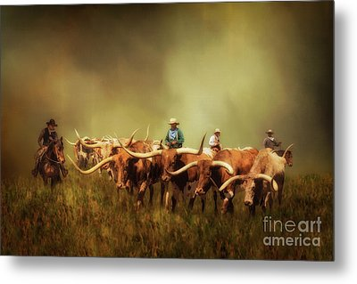 Driving The Herd Metal Print by Priscilla Burgers