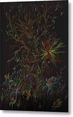 Metal Print featuring the drawing Dryad Brings News by Dawn Fairies