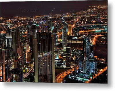 Dubai At Night Metal Print