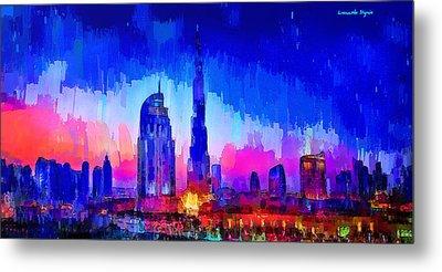 Dubai Skyline 100 - Pa Metal Print by Leonardo Digenio