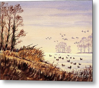 Metal Print featuring the painting Duck Hunting Times by Bill Holkham