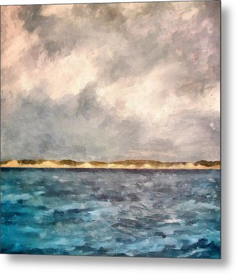 Dunes Of Lake Michigan With Rough Seas Metal Print by Michelle Calkins