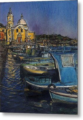 Dusk Falls Over Procida Fleet Metal Print