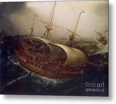 Dutch Battleship In A Storm Metal Print by Hendrick Cornelisz Vroom