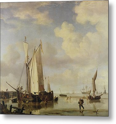 Dutch Vessels Inshore And Men Bathing Metal Print