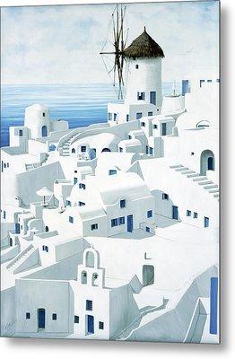 Dwellings, Santorini - Prints From Original Oil Painting Metal Print