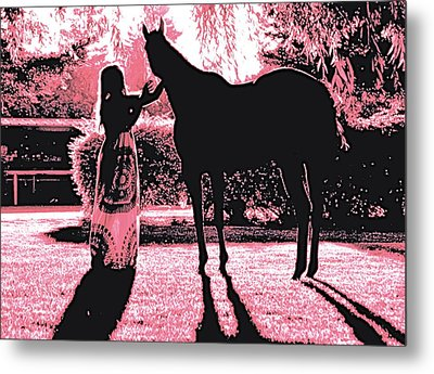 Dylly And Lizzy Pink Metal Print by Valerie Rosen