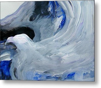 Eagle Riding On Waves Metal Print