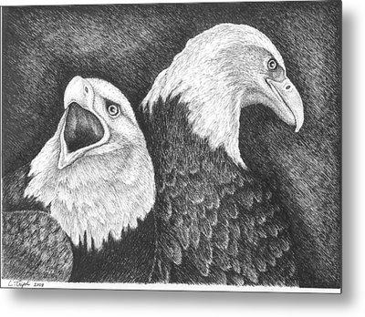 Eagles In Ink Metal Print by Lawrence Tripoli