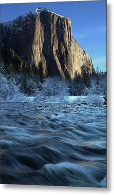 Metal Print featuring the photograph Early Morning Light On El Capitan During Winter At Yosemite National Park by Jetson Nguyen