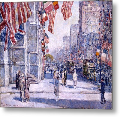 Metal Print featuring the painting Early Morning On The Avenue In May 1917 - 1917 by Frederick Childe Hassam