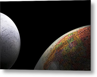 Earth And Moon Metal Print