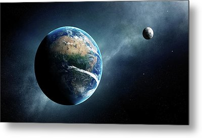 Earth And Moon Space View Metal Print by Johan Swanepoel