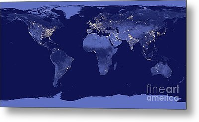 Earth From Space Metal Print by Delphimages Photo Creations