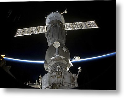 Earths Limb Intersects A Soyuz Metal Print by Stocktrek Images