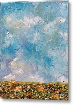 Metal Print featuring the painting East Field Seedlings by Judith Rhue