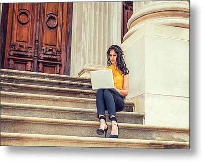 East Indian American College Student Studying In New York Metal Print
