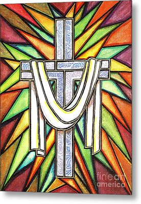 Metal Print featuring the painting Easter Cross 5 by Jim Harris