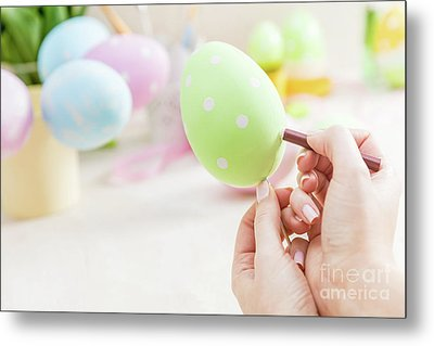 Easter Egg Handcrafted At Home. Metal Print