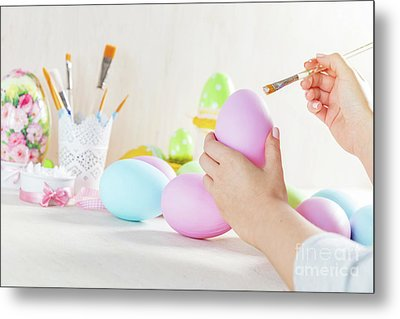 Easter Egg Painting In A Workshop Metal Print