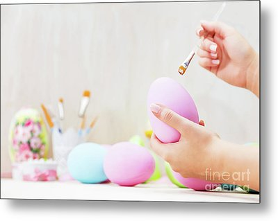 Easter Egg Painting In An Atelier. Metal Print