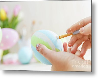 Easter Eggs Handicrafted With Pastel Stripes. Metal Print