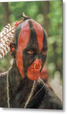 Eastern Woodland Indian Portrait Metal Print by Randy Steele