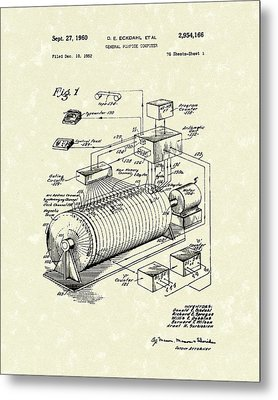 Eckdahl Computer 1960 Patent Art Metal Print by Prior Art Design
