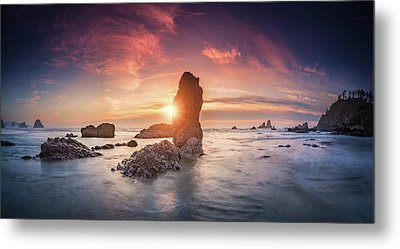 Metal Print featuring the photograph Ecola State Park Beach Sunset Pano by William Lee