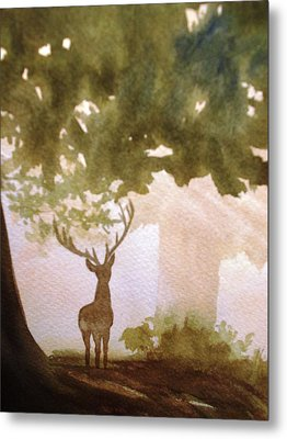 Metal Print featuring the painting Edge Of The Forrest by Marilyn Jacobson