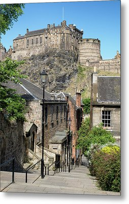 Metal Print featuring the photograph Edinburgh Castle From The Vennel by Jeremy Lavender Photography