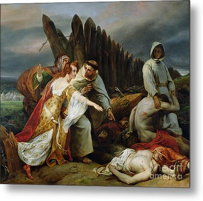 Edith Finding The Body Of Harold Metal Print by Emile Jean Horace Vernet