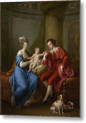 Edward Smith Stanley 17521834 Twelfth Earl Of Derby With His First Wife Lady Elizabeth Hamilton 17531797 And Their Son Edward Smith Stanley 17751851 Metal Print by Angelica Kauffmann