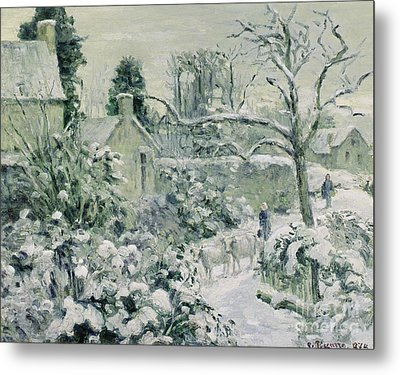 Effect Of Snow With Cows At Montfoucault Metal Print