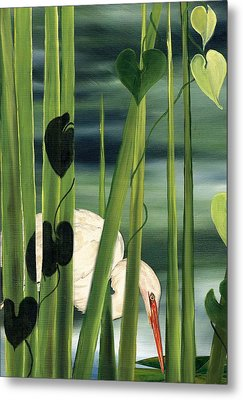 Metal Print featuring the painting Egret In Reeds by Anne Beverley-Stamps
