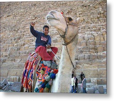 Egypt - Boy With A Camel Metal Print by Munir Alawi