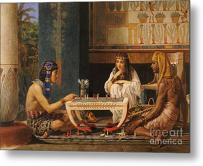 Egyptian Chess Players Metal Print by Sir Lawrence Alma-Tadema