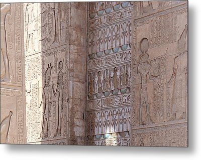 Metal Print featuring the photograph Egyptian Hieroglyphs by Silvia Bruno