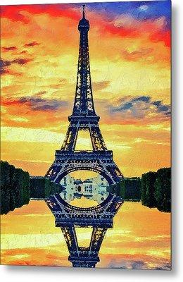 Eifel Tower In Paris Metal Print by PixBreak Art