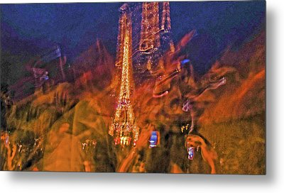 Eiffel On Bastille Day Abstract Metal Print by Tony Grider