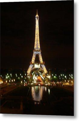 Eiffel Tower At Night Metal Print by John Julio