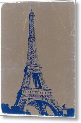 Eiffel Tower Blue Metal Print by Naxart Studio