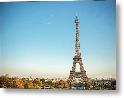 Eiffel Tower In The Sun Metal Print by Sonja Quintero