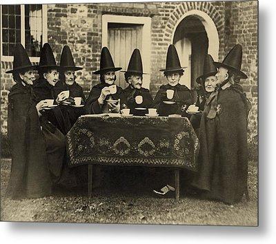 Eight Women In High Hats Having Tea Metal Print by Everett